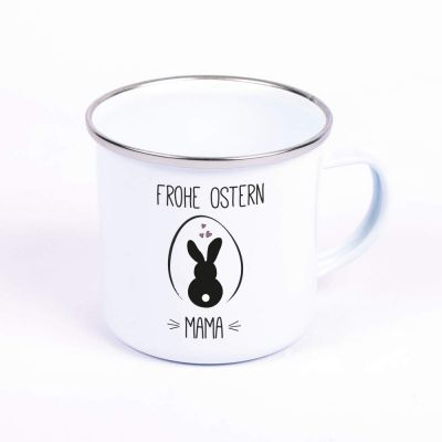 "Metalltasse Emaille Look ""Frohe Ostern"" - personalisiert"