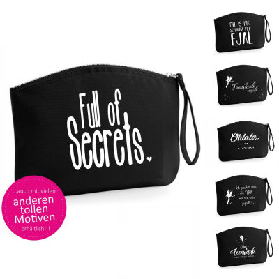 """Kosmetiktasche """"Full of secrets"""" - schwarz (verschiedene Größen)"""
