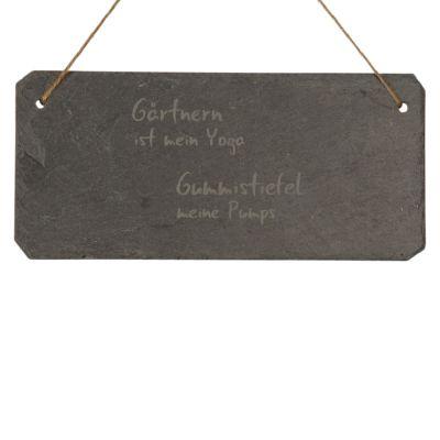 """Schieferschild """"Gärtnern ist mein Yoga - Gummistiefel meine Pumps"""""""