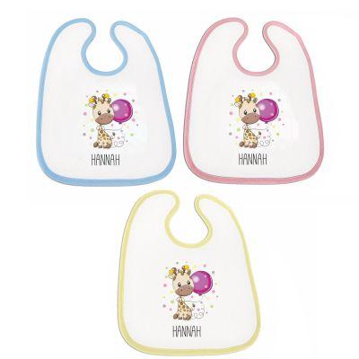"""Lätzchen """"Giraffe"""" - personalisiert (Farbe: rosa, blau oder gelb)"""