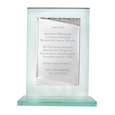 Glaspokal mit Gravur - personalisiert (gerade)