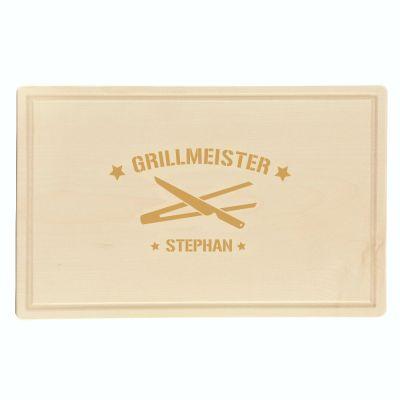 """Schneidebrett """"Grillmeister Sterne und Grillzangen"""" - personalisiert (rechteckig)"""