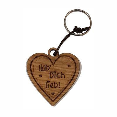 """Schlüsselanhänger aus Holz """"Hab Dich lieb!"""" (Herz)"""