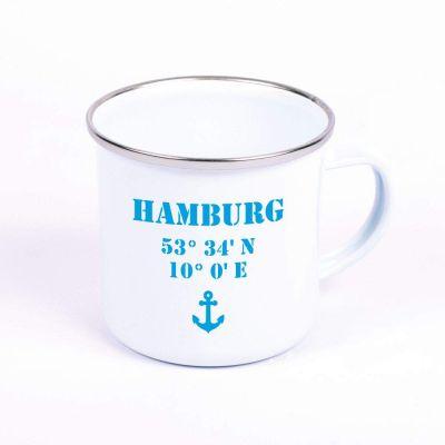 """Metalltasse Emaille Look """"Hamburg Koordinaten"""""""