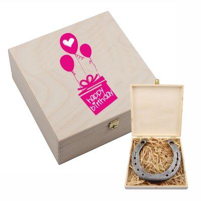 "Hufeisen-Box ""Happy Birthday"" (pinke Luftballons)"