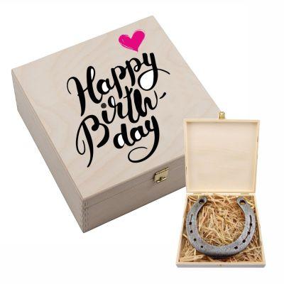"""Hufeisen-Box """"Happy Birthday"""" (pinkes Herz)"""