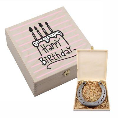 """Hufeisen-Box """"Happy Birthday"""" (Torte)"""