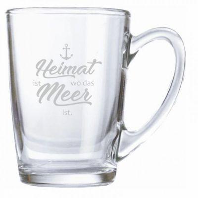 """Teeglas """"Heimat ist wo das Meer ist"""" (Anker)"""