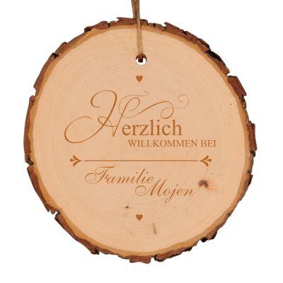 """Baumscheibe """"Herzlich Willkommen"""" - personalisiert (verschiedene Größen)"""