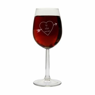 """Weinglas """"Herzpfeil"""" mit Namen"""