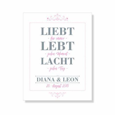"""Poster """"Liebt, Lebt, Lacht"""" - personalisiert (verschiedene Größen)"""