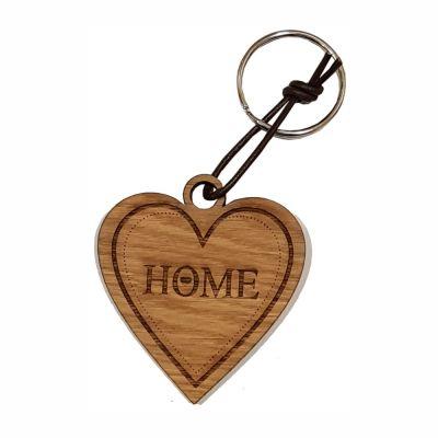 """Schlüsselanhänger aus Holz """"Home"""" (Herz)"""