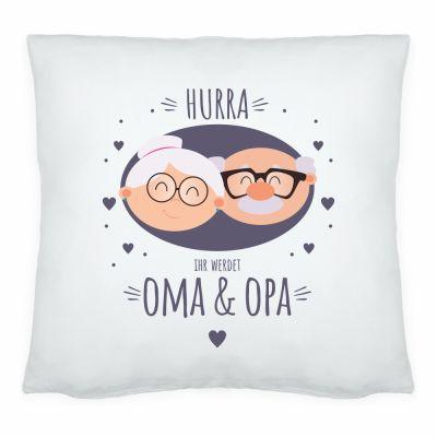"""Kissen """"Hurra Ihr werdet Oma & Opa"""""""