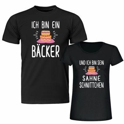 """T-Shirt SET """"Ich bin ein Bäcker"""" & """"Und ich bin sein Sahneschnittchen"""""""