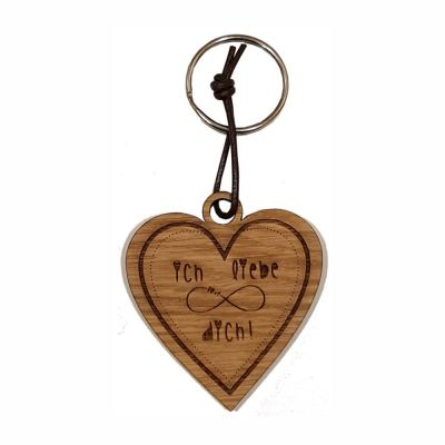 """Schlüsselanhänger aus Holz """"Ich liebe dich!"""" (Herz)"""