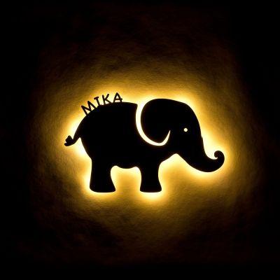 "Personalisierte Holzlampe ""Elefant"""