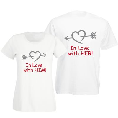 """T-Shirts """"In love with him / her"""" - SET"""
