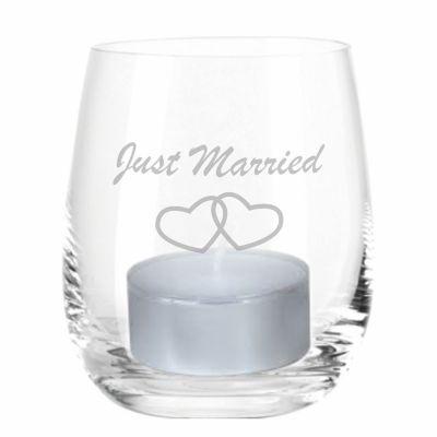 "Windlicht ""Just Married"" (Herzen)"