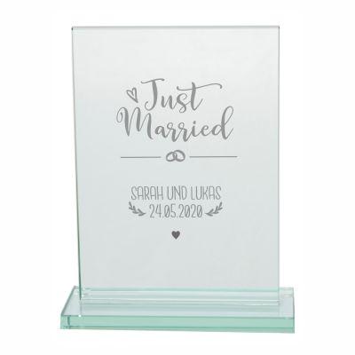 "Personalisierter Glaspokal ""Just Married - Namen & Datum"""