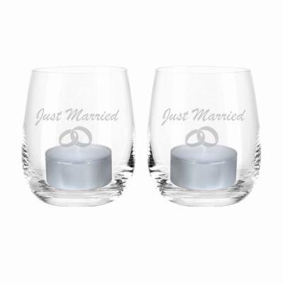 """Windlicht-Set """"Just Married"""" (Ringe)"""