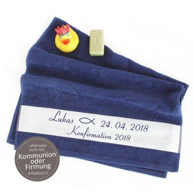 """Handtuch """"Fisch"""" zur Konfirmation / Firmung / Kommunion - personalisiert"""