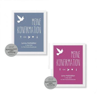 Bild zur Konfirmation / Kommunion / Firmung - personalisiert (verschiedene Größen)