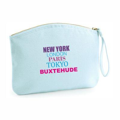 "Kulturtasche ""New York - London - Paris - Tokyo - Buxtehude"" -hellblau"