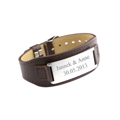 "Armband aus Leder ""Braun"" - personalisiert"