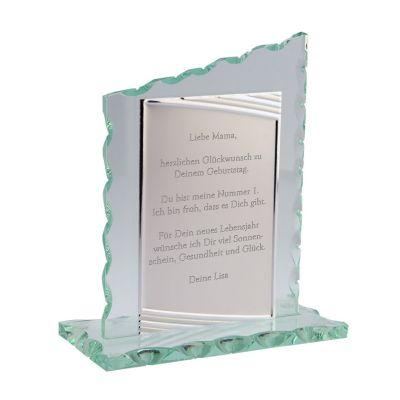 Glaspokal mit Gravur - personalisiert (schräg)
