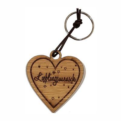 """Schlüsselanhänger aus Holz """"Lieblingsmensch"""" (Herz)"""