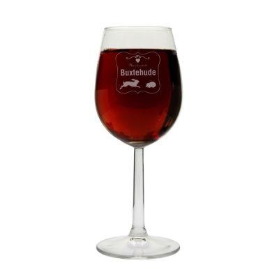 """Weinglas """"Märchenstadt Buxtehude"""" (mit Rahmen)"""