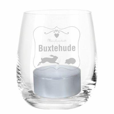"""Windlicht """"Märchenstadt Buxtehude"""" (mit Rahmen)"""