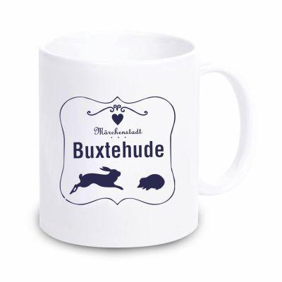 """Tasse """"Märchenstadt Buxtehude"""" mit Rahmen (Farbe: weiß oder navy)"""