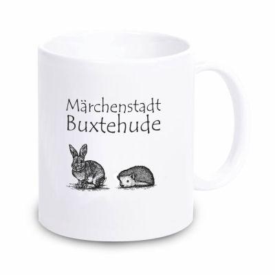 """Tasse """"Märchenstadt Buxtehude"""" ohne Rahmen (Farbe: weiß oder schwarz)"""