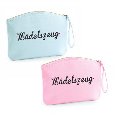 """Kulturtasche """"Mädelszeug"""" (Farbe: rosa oder hellblau)"""