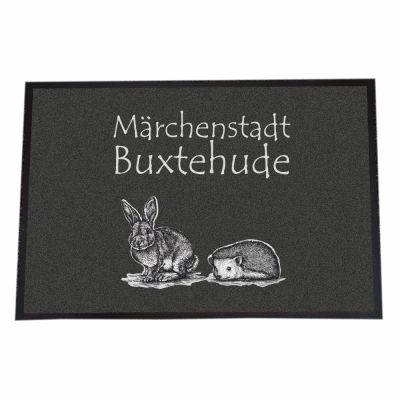 """Fußmatte """"Märchenstadt Buxtehude"""" (Hase & Igel)"""