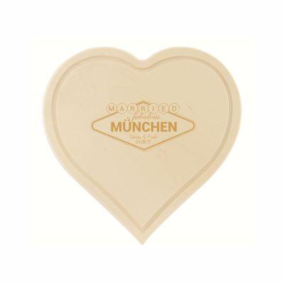 """Schneidebrett """"Married in"""" - personalisiert (herzförmig)"""