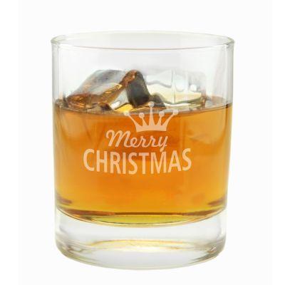 """Whiskyglas """"Merry Christmas"""" (Krone)"""