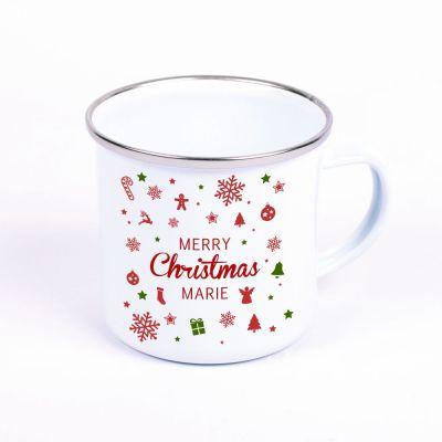 "Metalltasse Emaille Look ""Merry christmas"" - personalisiert"
