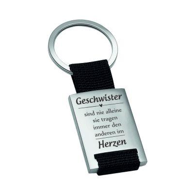 """Metall-Schlüsselanhänger """"Geschwister sind nie alleine - sie tragen immer den anderen im Herzen"""""""