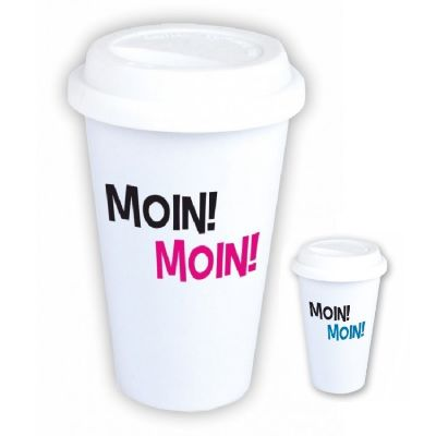"""Coffee-to-go Becher """"Moin! Moin!"""" (Design: pink oder blau)"""