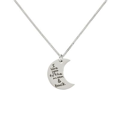 """Kettenanhänger """"I love you to the moon and back"""" - personalisiert (Halbmond)"""