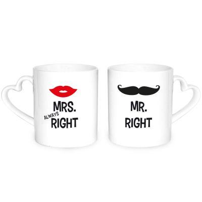 """Herz-Tassen """"Mr. Right & Mrs. Always Right"""""""