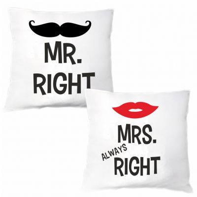 "Kissen Set ""Mr. Right & Mrs. Always Right"""