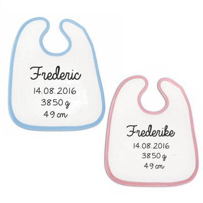 """Lätzchen """"Name, Geburtstag, Gewicht"""" - personalisiert (Farbe: rosa oder blau)"""