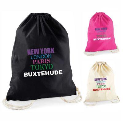 "Statement-Turnbeutel ""New York, London, Paris, Tokyo, Buxtehude"" (bunte Schrift)"