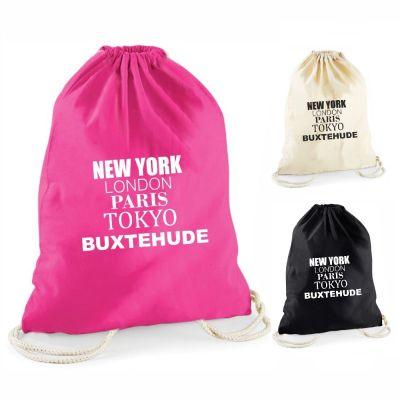 """Statement-Turnbeutel """"New York, London, Paris, Tokyo, IHRE STADT"""" (einfarbige Schrift)"""