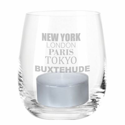 "Windlicht ""New York, London, Paris, Tokyo, Buxtehude"""