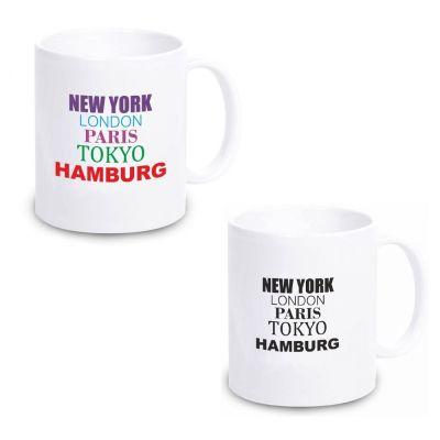 """Tasse """"New York, London, Paris, Tokyo, Hamburg"""" (Design: schwarz oder bunt)"""