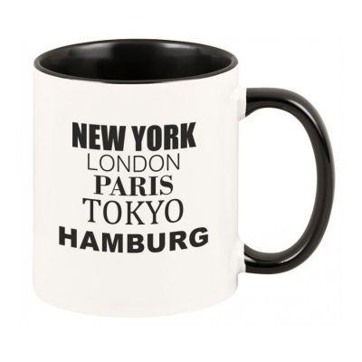 """Tasse """"New York, London, Paris, Tokyo, Hamburg"""""""
